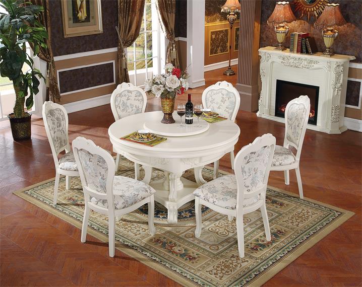 进口橡胶木,进口提花刺绣工艺 7332 威尼斯多功能1号圆餐桌(白色)
